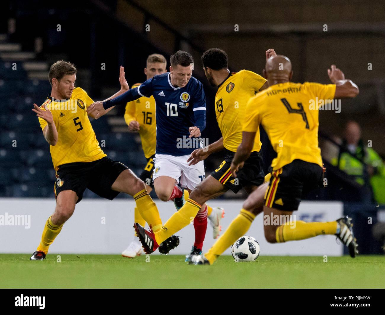 Hampden Park, Glasgow, UK. 7th Sep, 2018. International Football Friendly, Scotland versus Belgium; no way through for Callum McGregor of Scotland Credit: Action Plus Sports/Alamy Live News - Stock Image