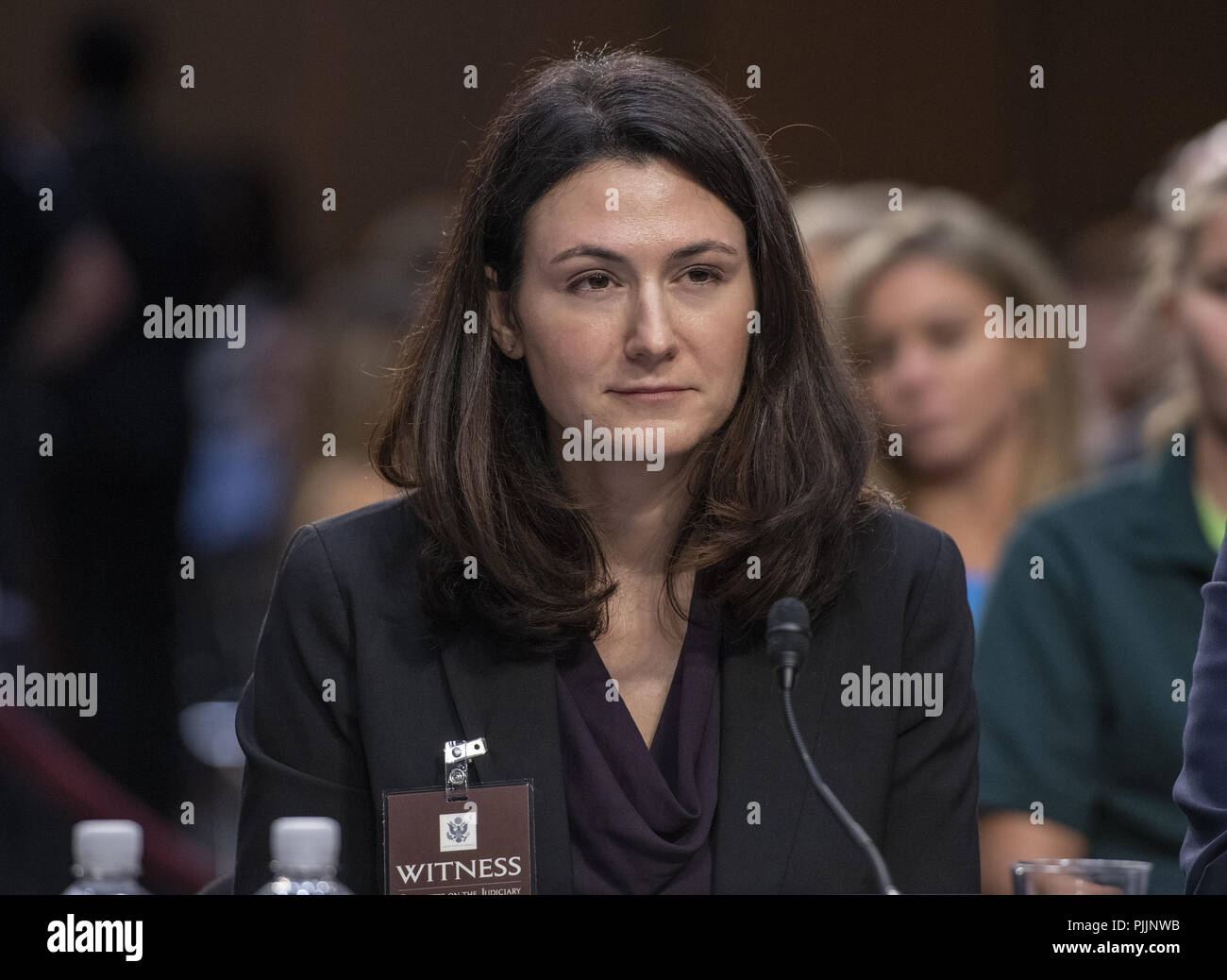 Washington, District of Columbia, USA. 7th Sep, 2018. Professor Rebecca Ingber, Associate Professor of Law.Boston University School of Law, Boston, Massachusetts, testifies against the nomination of Judge Brett Kavanaugh before the US Senate Judiciary Committee on his nomination as Associate Justice of the US Supreme Court to replace the retiring Justice Anthony Kennedy on Capitol Hill in Washington, DC on Friday, September 7, 2018 Credit: Ron Sachs/CNP/ZUMA Wire/Alamy Live News - Stock Image