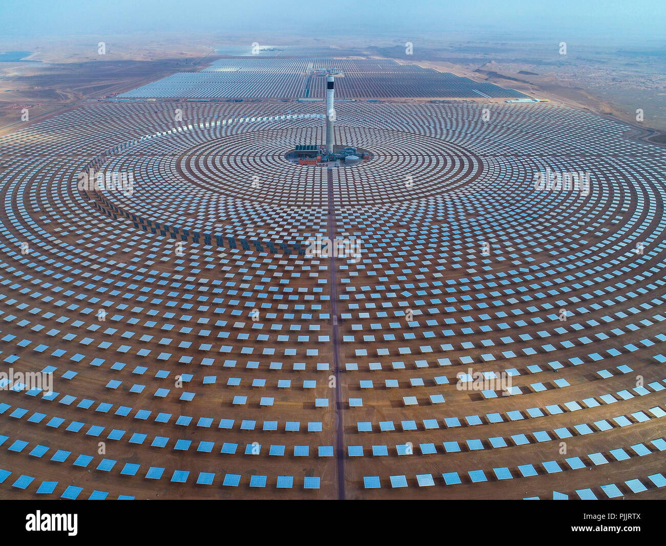 Ouarzazate, Morocco. 8th Sep, 2018. Photo provided by Shandong Electric Power Construction Co., Ltd (SEPCO III) shows part of Morocco's NOOR II and NOOR III Concentrated Solar Power (CSP) project in Ouarzazate, Morocco, on June 8, 2018. TO GO WITH Feature: Chinese builders help Morocco restructure energy mix via solar power projects. Credit: Xinhua/Alamy Live News Stock Photo