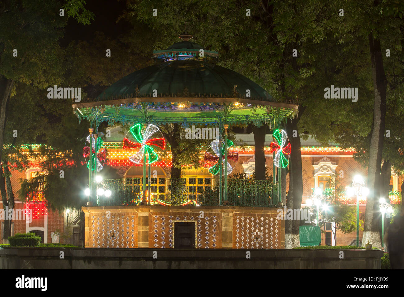 Tlaxcala, Mexico - September 03.2018 Tlaxcala city center as many other mexican cities is decorated with lights to celebrate mexican independence day - Stock Image