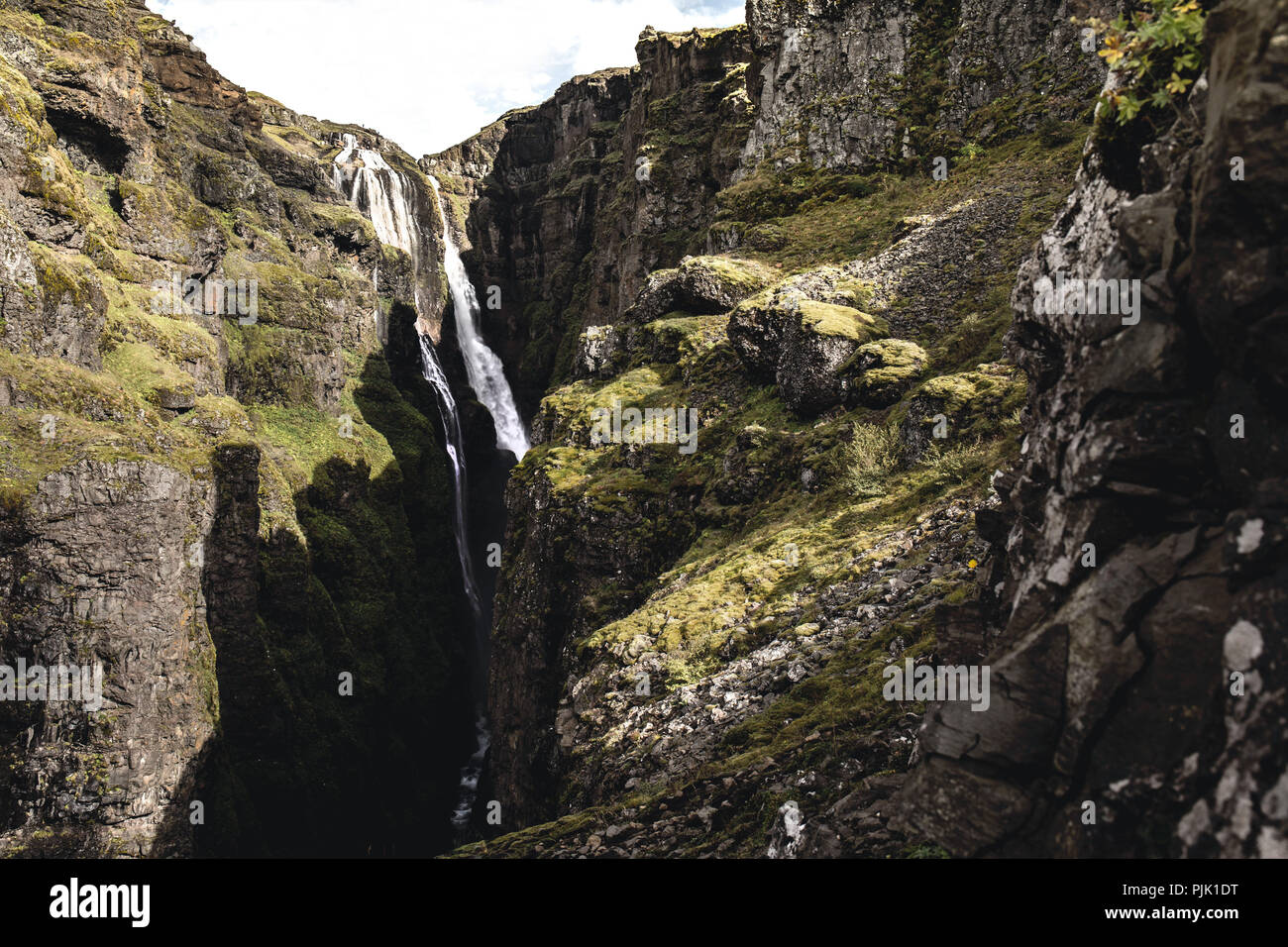 The mighty waterfall Glymur in Iceland Stock Photo