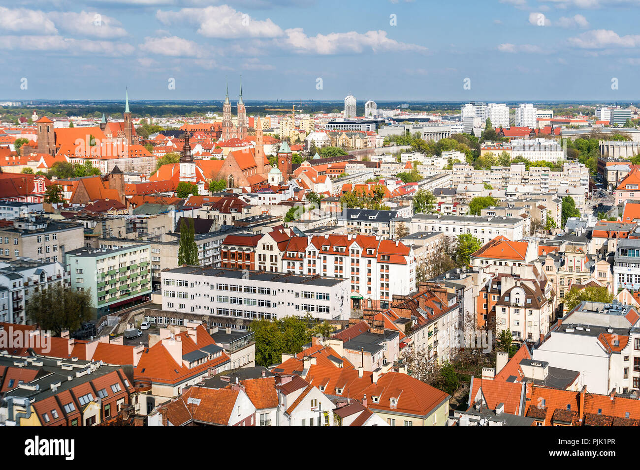 Poland, Wroclaw, old town, view from the Elisabeth Church to the northeast - Stock Image