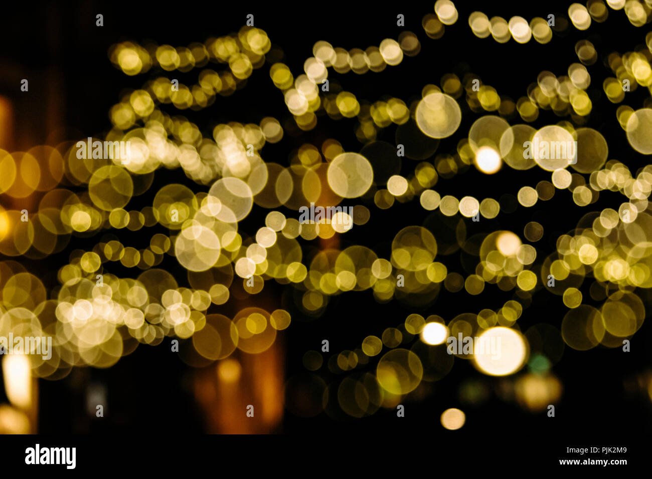 Lights of a Christmas illumination in the city, - Stock Image