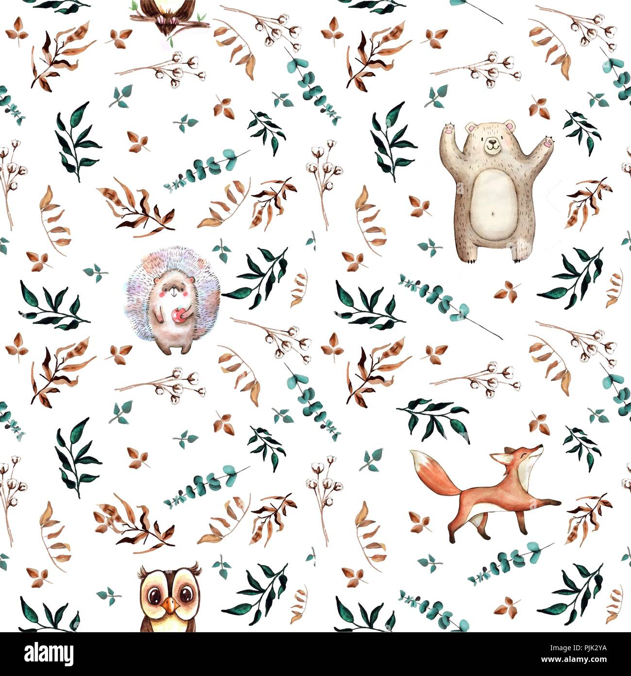 Watercolor cute hand drawn seamless pattern. Wild forest animals. Cheerful bear, fox, hedgehog, owl and mouse. - Stock Image