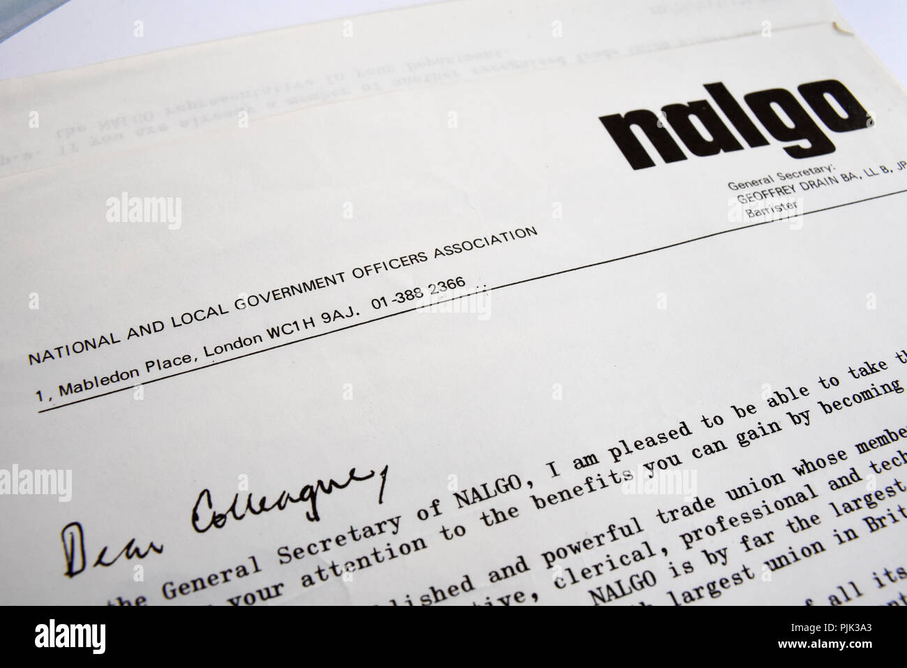 Nalgo union letter head document. National and local government officers association. General secretary Geoffrey Drain. Trade Union became UNISON - Stock Image