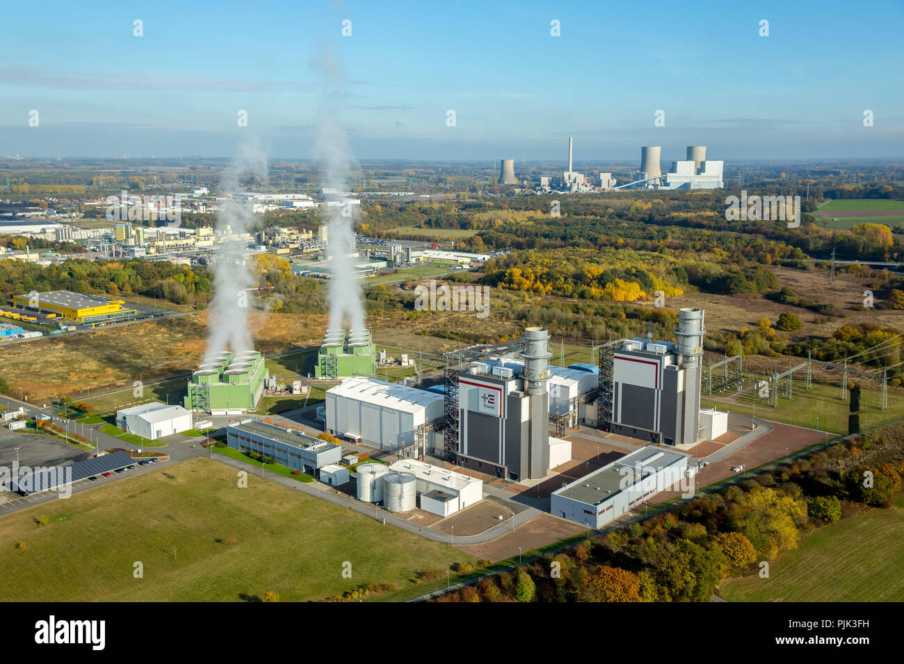 Aerial view, Trianel gas power plant Hamm GmbH & Co. KG, GUD, cloud of smoke, water vapor, gas turbine power plant in operation, Hamm, Ruhr area, North Rhine-Westphalia, Germany - Stock Image