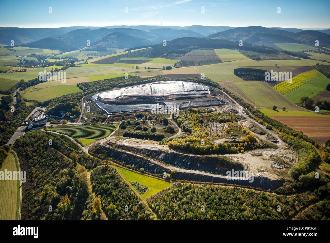 Aerial view, landfill, garbage dump, Frielinghausen, Meschede, Sauerland, North Rhine-Westphalia, Germany - Stock Image