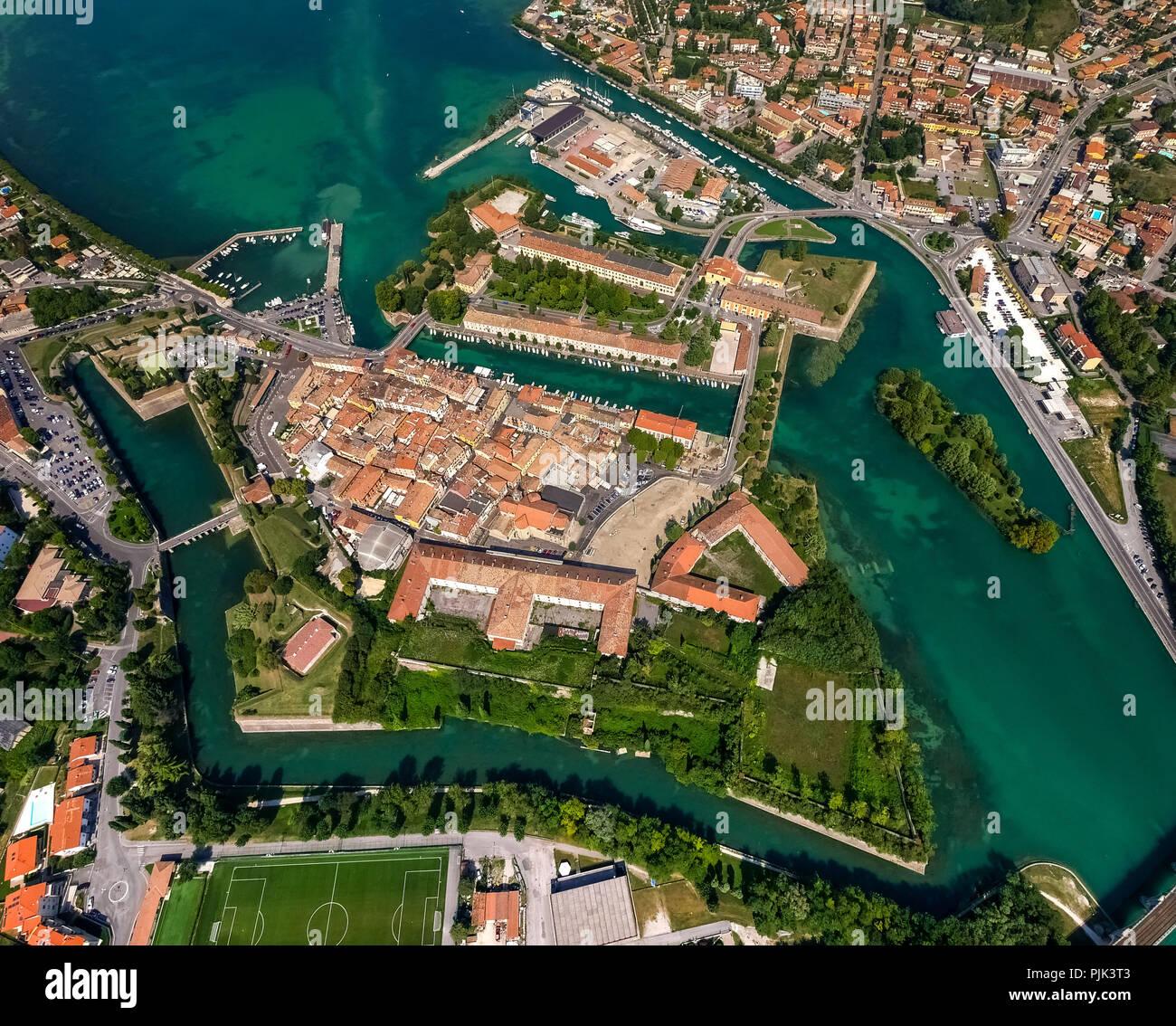 Aerial view, Comune di Peschiera del Garda on the river Mincio, Fortificazioni, fortifications, Lake Garda, Lago di Garda, Northern Italy, Veneto, Italy - Stock Image