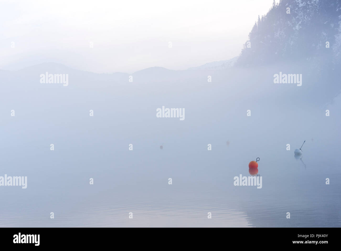 Misty mood with buoys at wintery Achensee in Tyrol, Austria - Stock Image