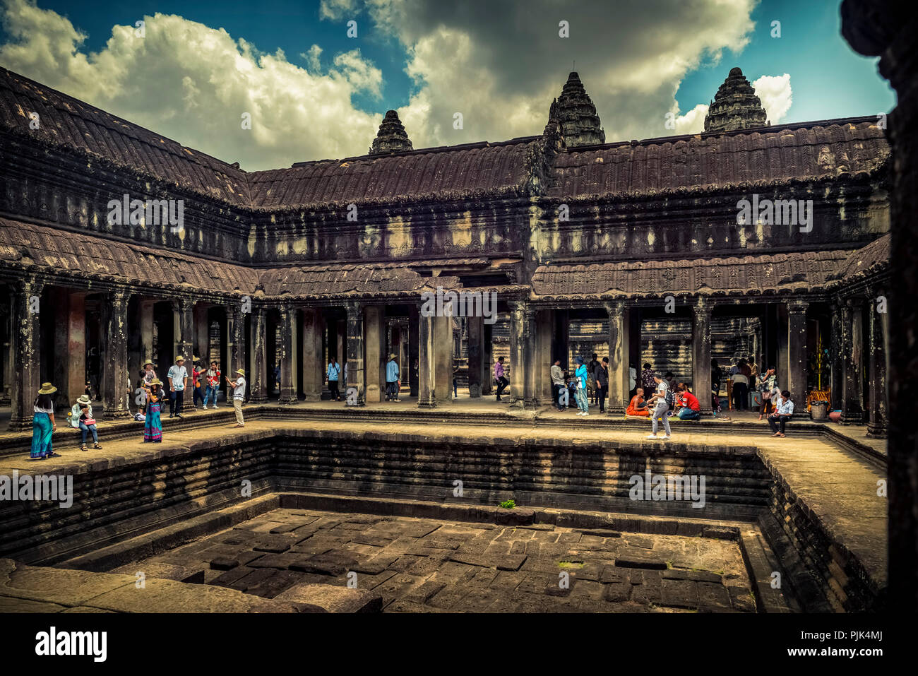Asia, Cambodia, Angkor Wat, Temple, Courtyard - Stock Image