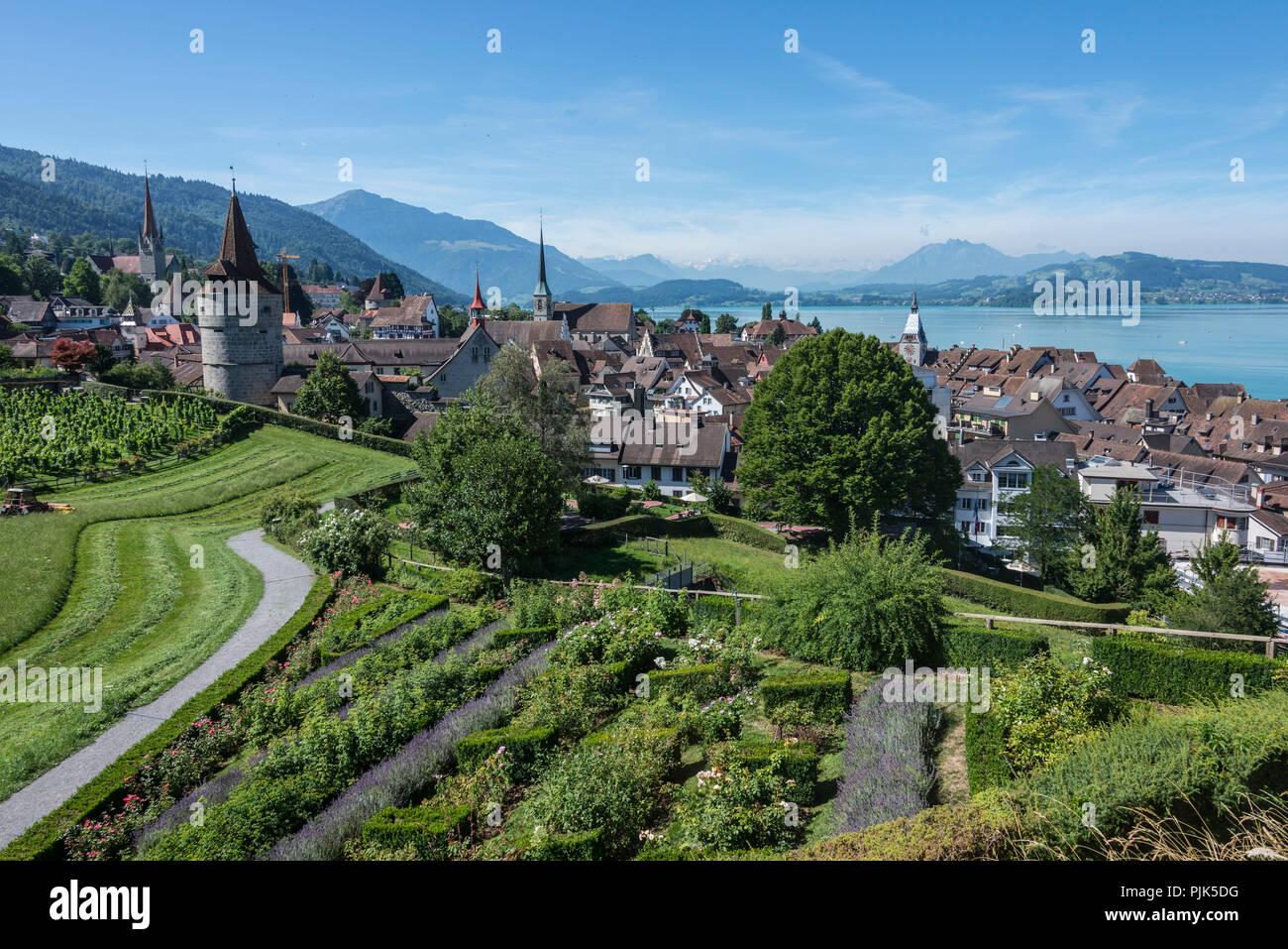 View on town and lake, Zug, Lake Zug, Canton of Zug, Switzerland ...