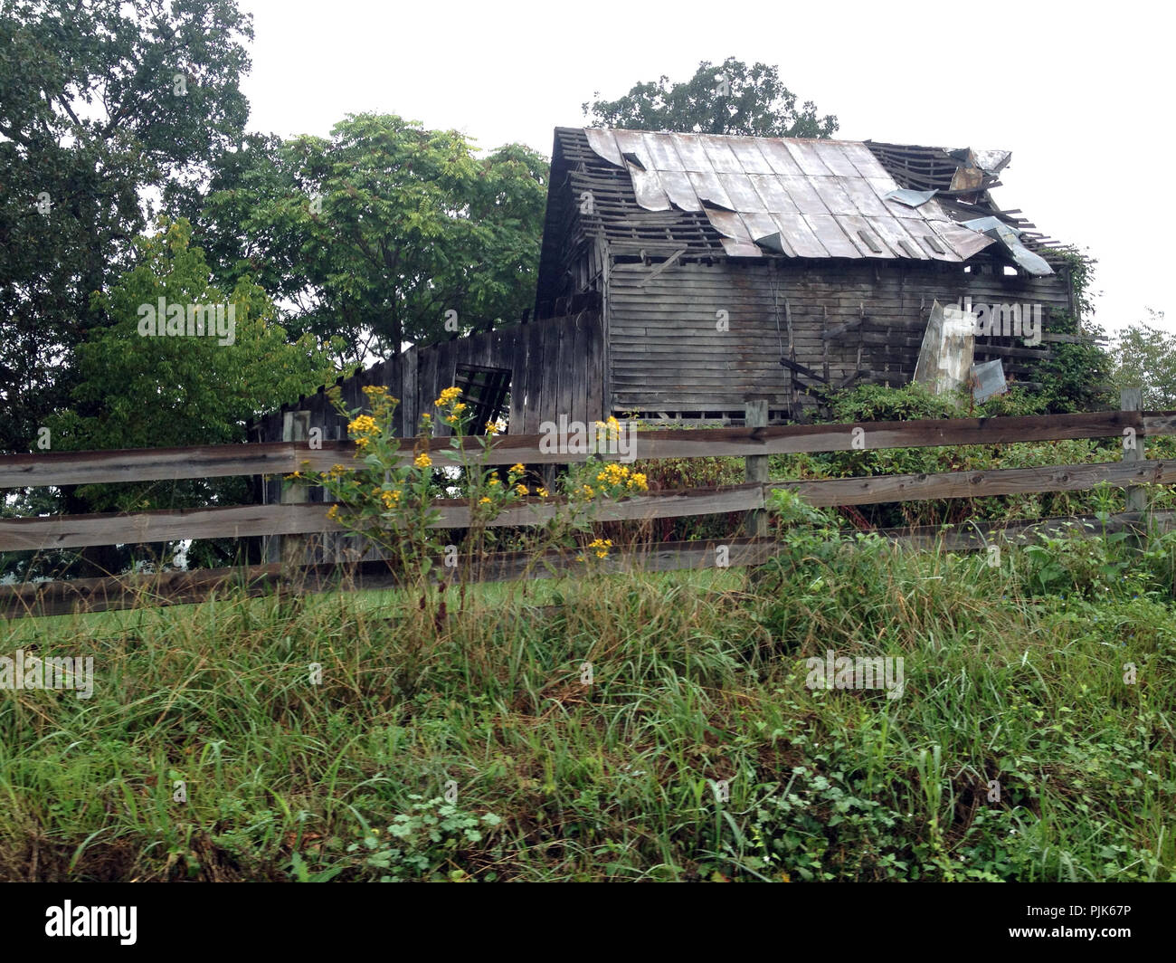 Falling barn in rural Virginia - Stock Image