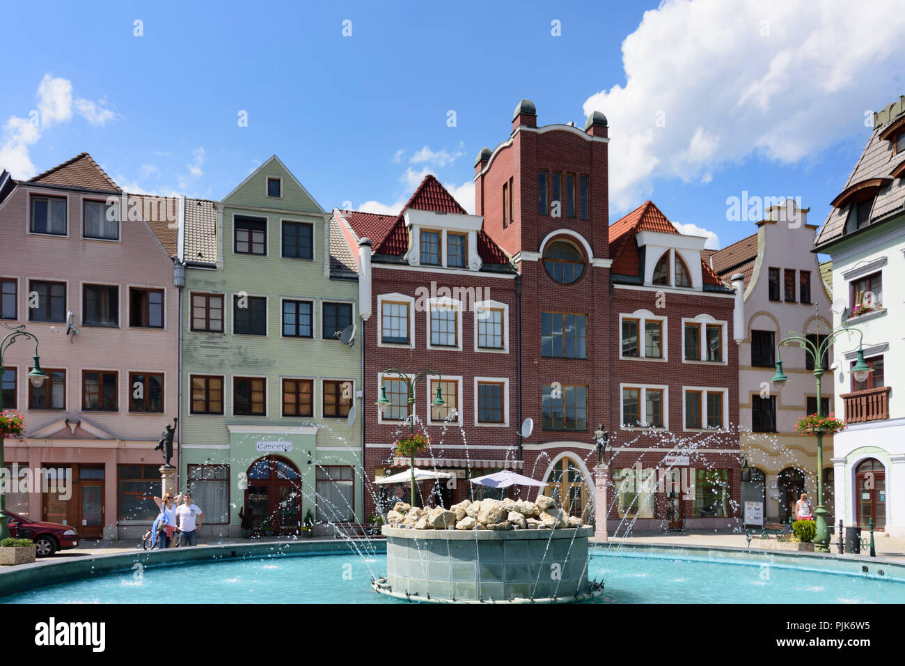 Komarno, Europe Square in the center purports to represent buildings from all parts of Europe in Slovakia, - Stock Image