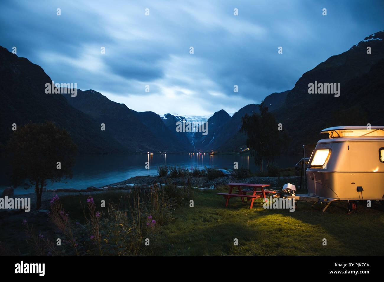 Norway, Stryn, Jostedalsbreen Glacier, Briksdalsbreen, Campsite by night - Stock Image
