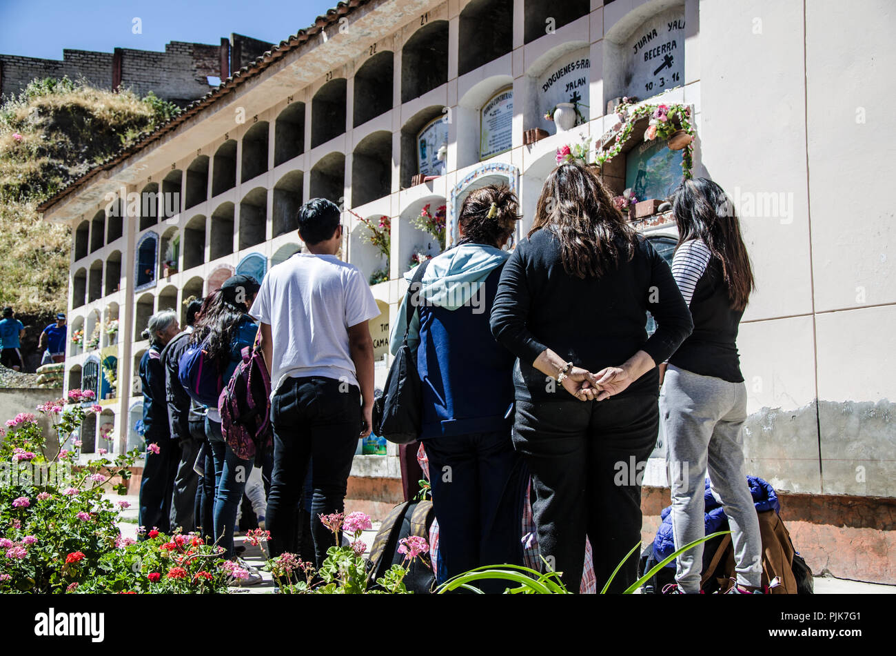 Lima, Peru - JULY 27th 2018 : Patriotic festivities in city of Canta. Tourists of Lima visiting the cemetery of the city of Canta Stock Photo