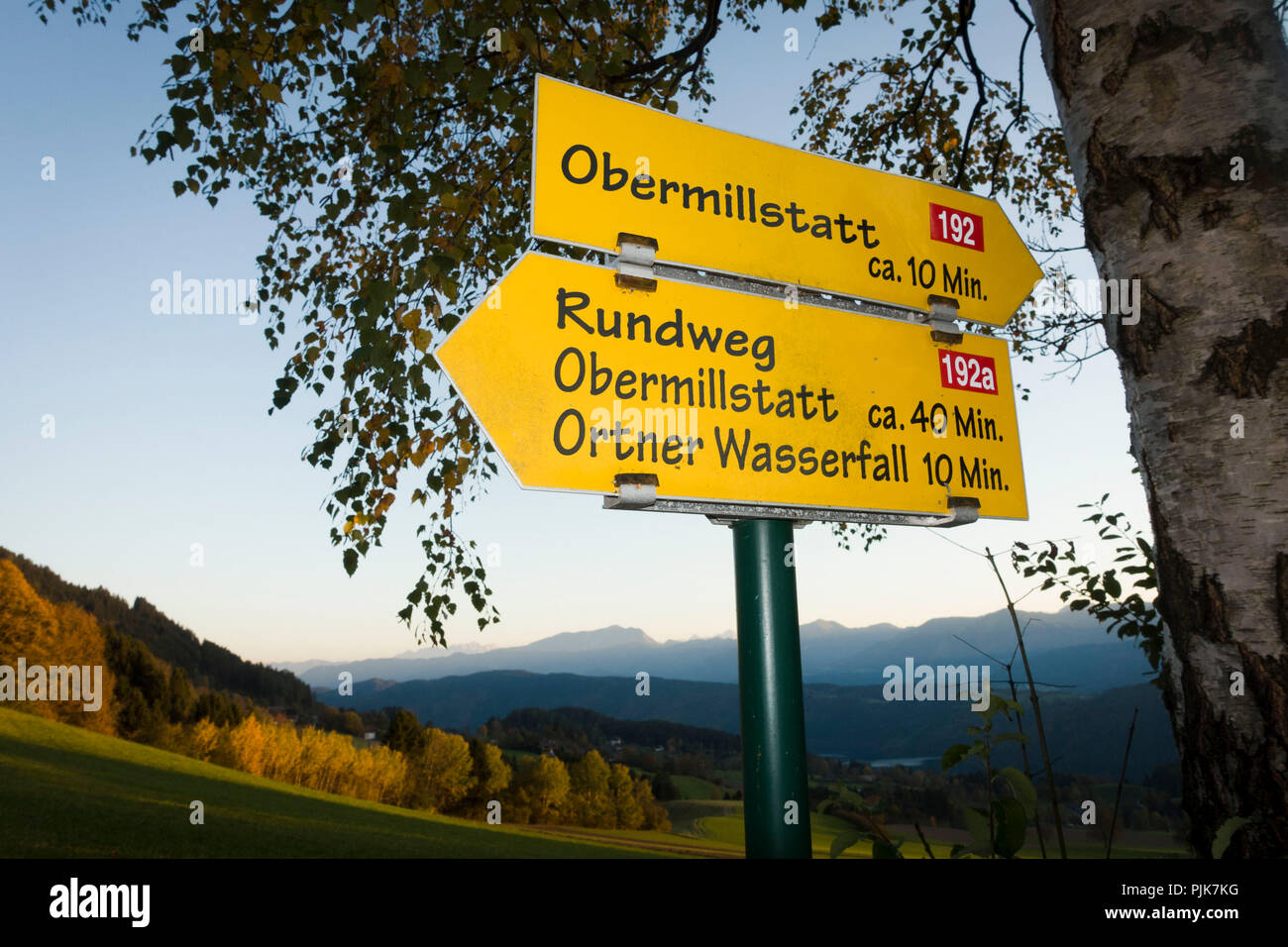 Signpost, Obermillstatt, Lake Millstatt, Carinthia, Austria - Stock Image