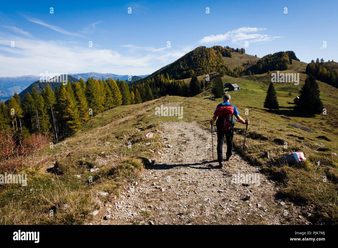 Hiking, Obermillstatt, Lake Millstatt, Carinthia, Austria - Stock Image