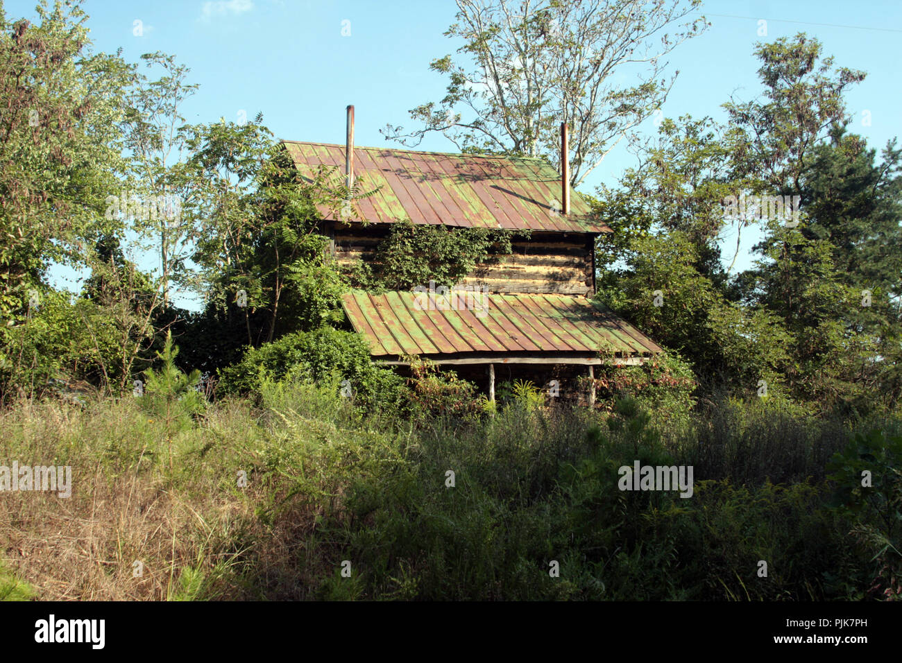 Desolating looking barn, abandoned and surrounded by vegetation, in Virginia's countryside - Stock Image