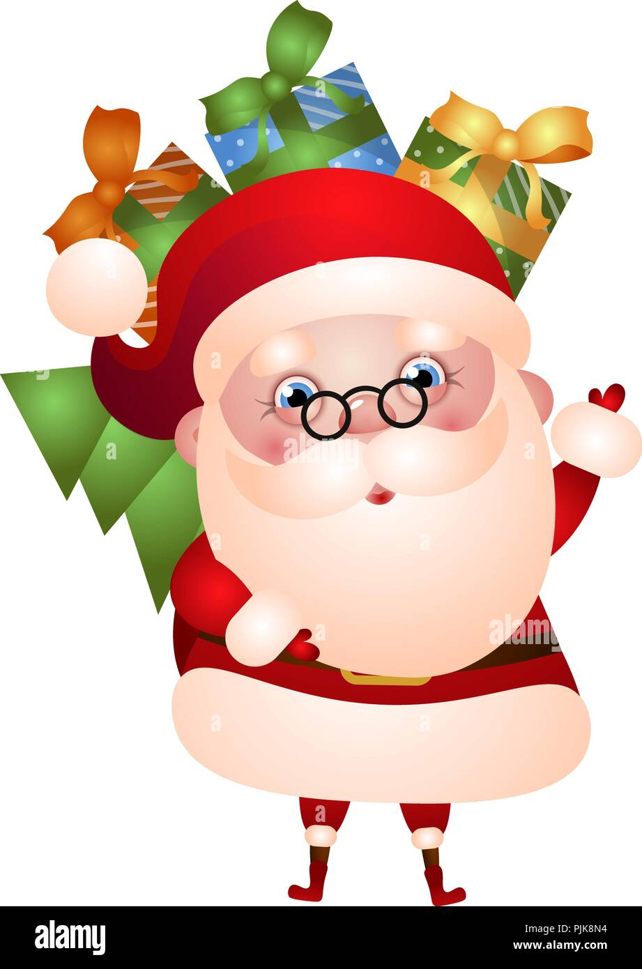Christmas Pictures Cartoon.Illustration Santa Claus Is Carrying A Bag Of Gifts And