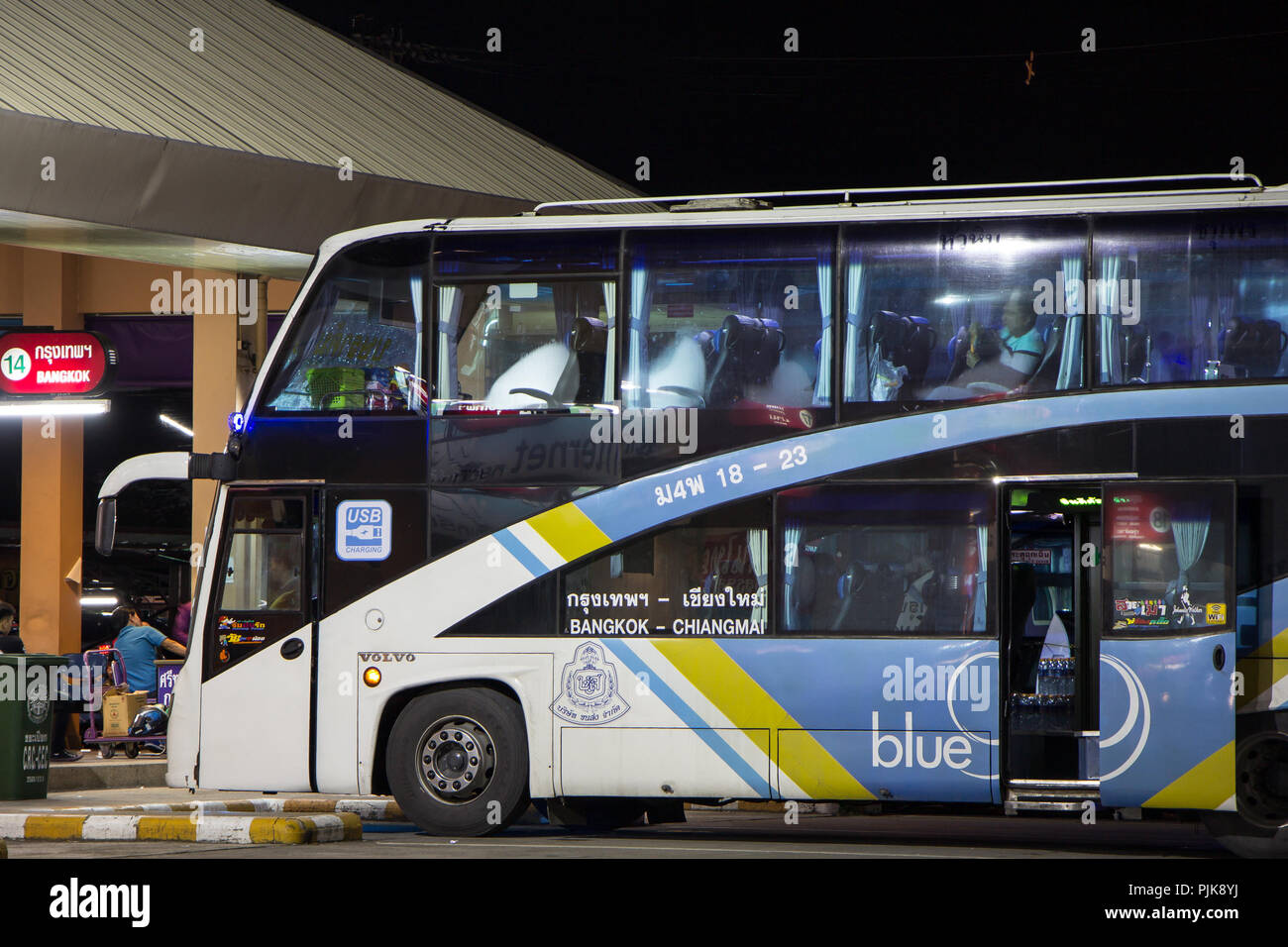 chiangmai, thailand - september 5 2018: bus of blue 9 band, sub