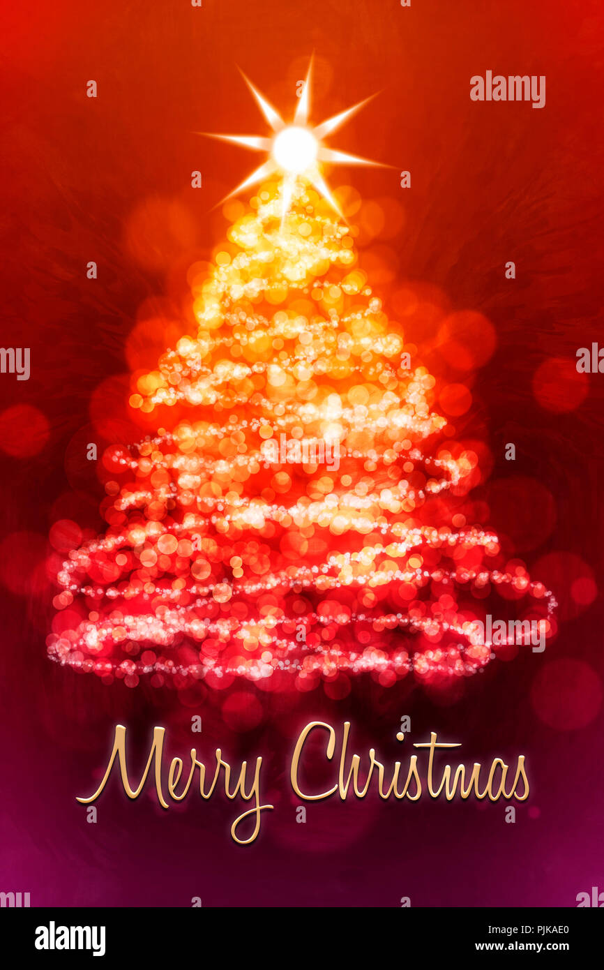 Eine Weihnachtskarte mit einem Tannenbaum und den Worten \