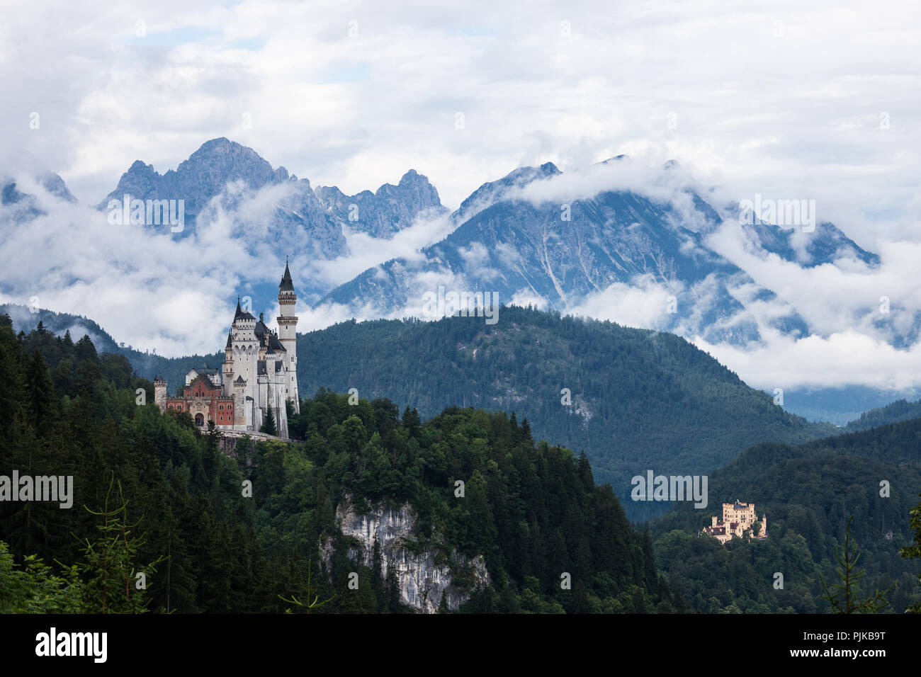 Beautiful view of world-famous Neuschwanstein Castle. Bavaria, Germany - Stock Image