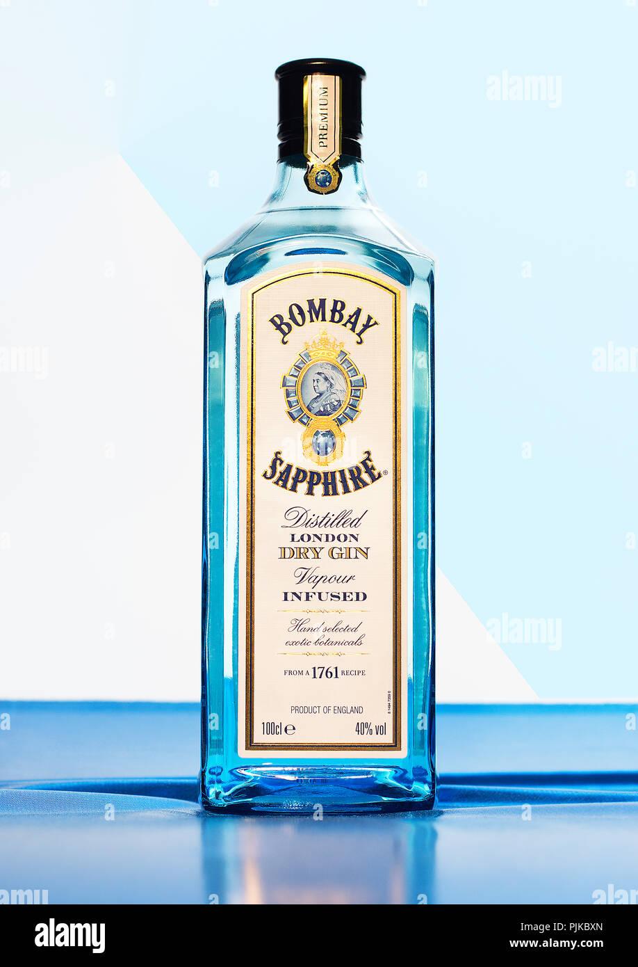 Bombay Sapphire Gin - Stock Image