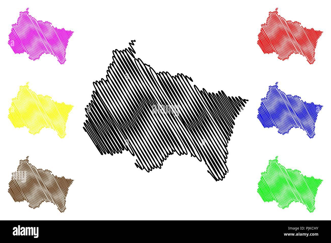 Grand Est (France, administrative region) map vector illustration ...