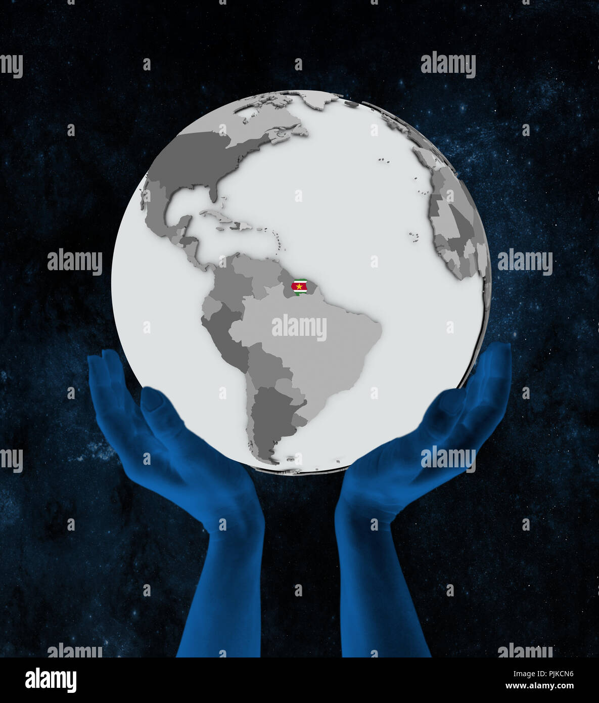 Suriname with flag on globe in hands in space. 3D illustration. - Stock Image
