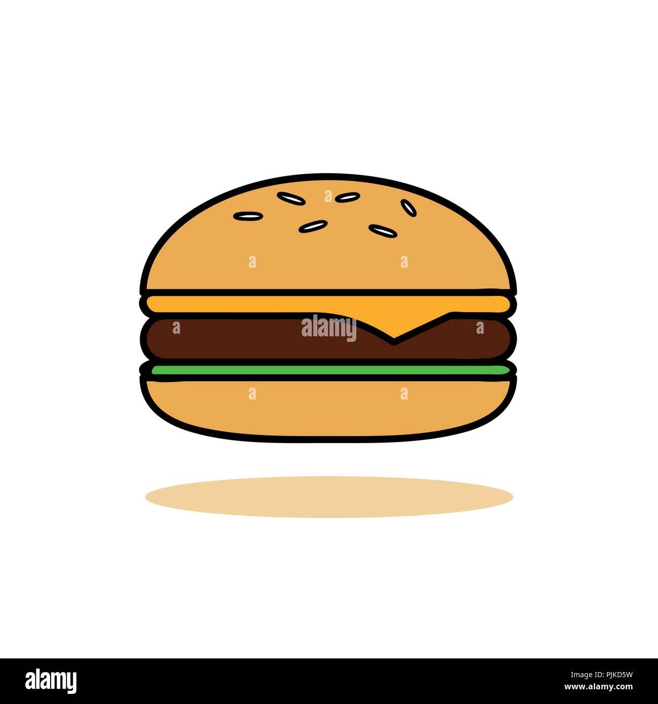 Hamburger Fast Food Icon Symbol Vector Illustration Stock Vector Art