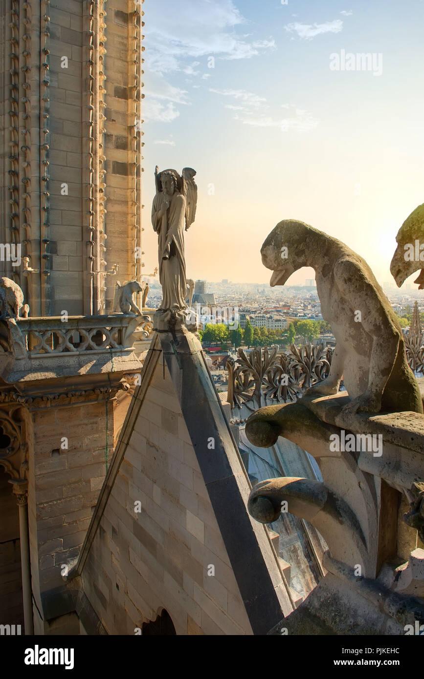 Statues of chimeras on Notre Dame de Paris, France - Stock Image