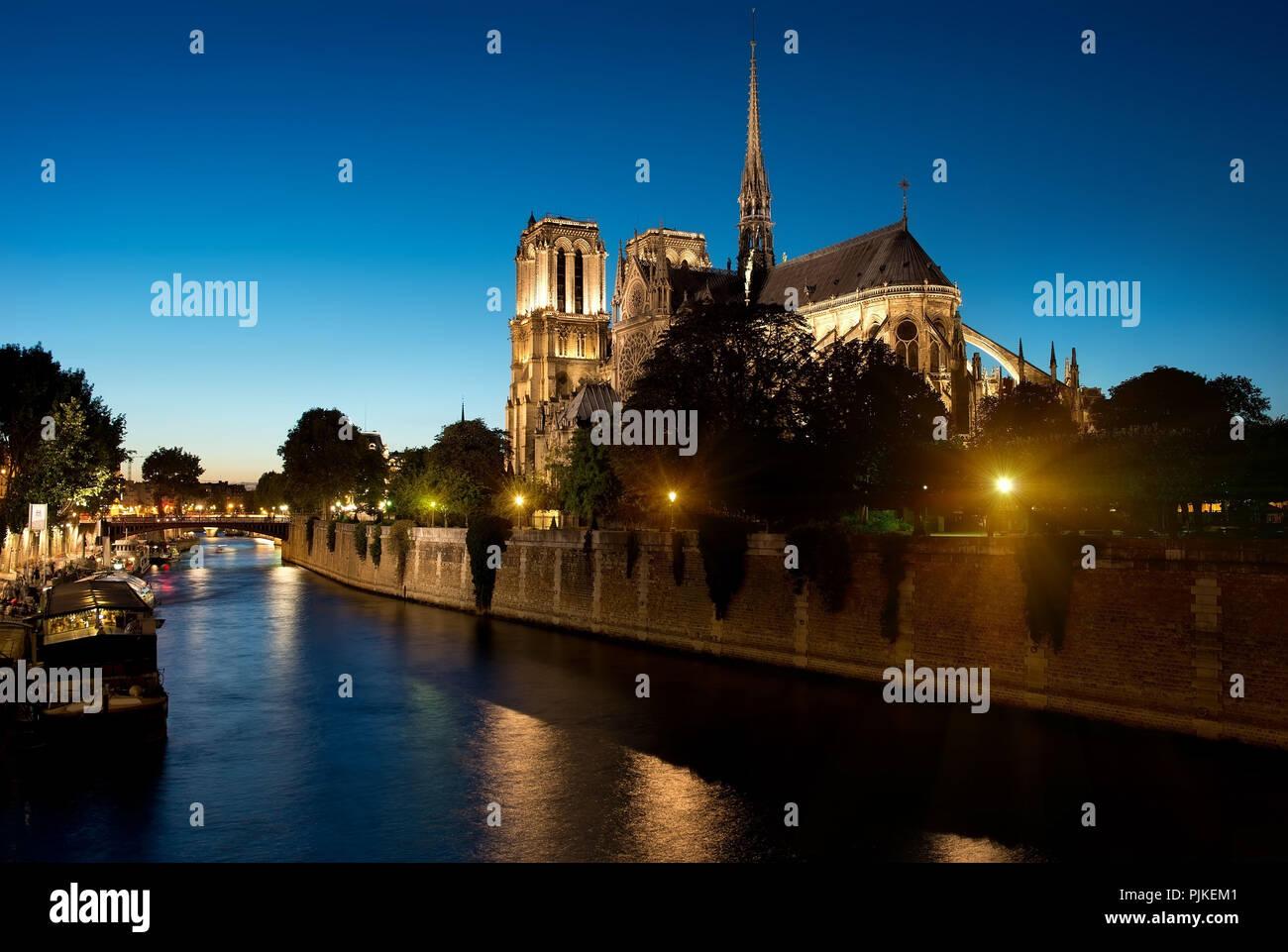 Notre Dame de Paris in the evening, France - Stock Image