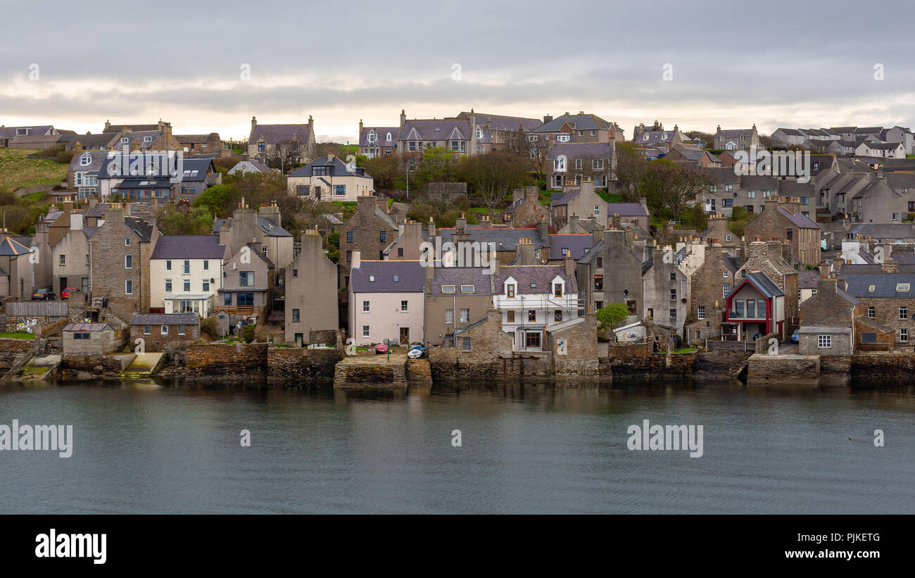 Village Stromness on the Orkney Islands - Stock Image
