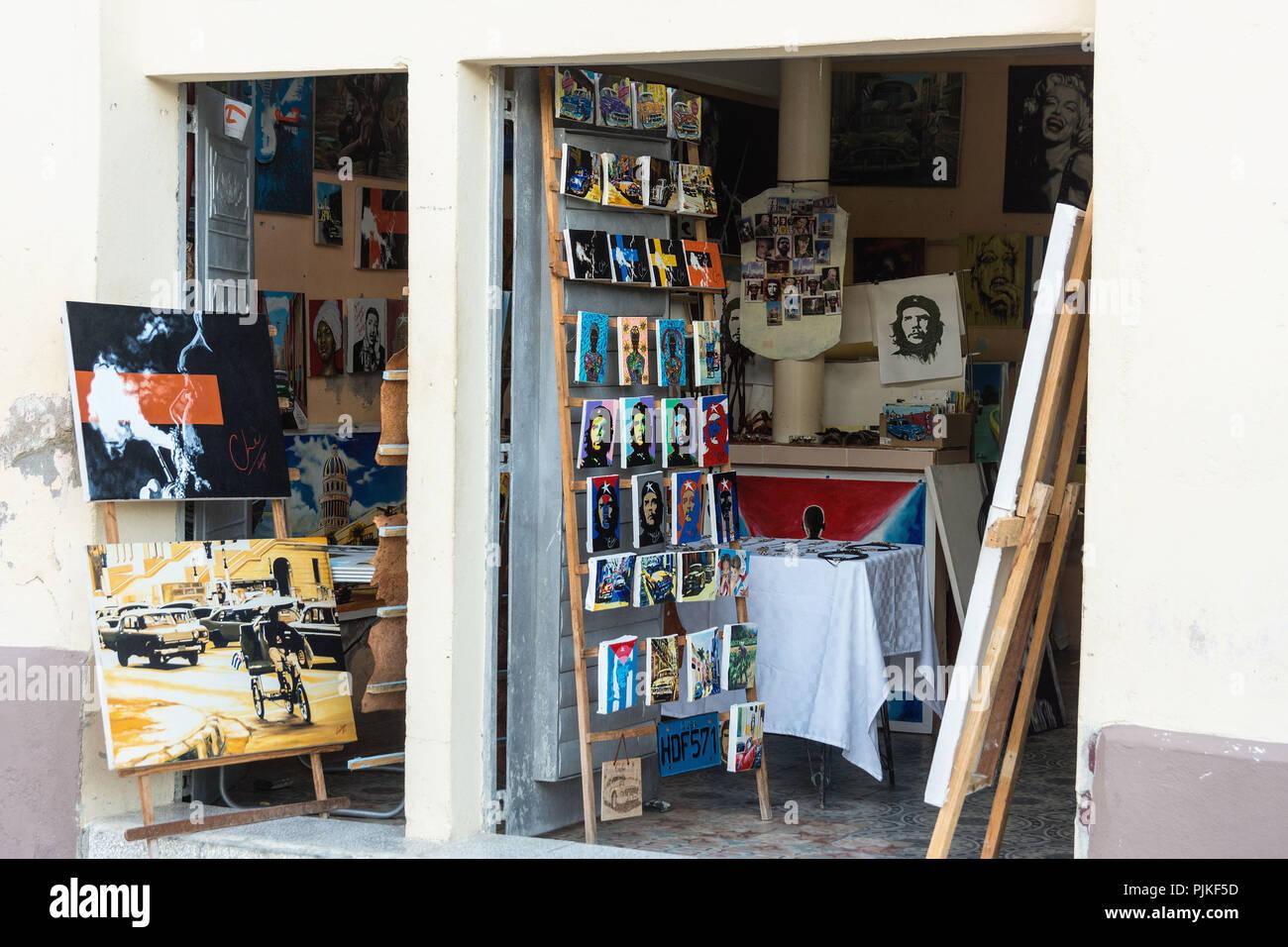 Cuba, Cienfuegos, Souvenir, Shop, Che Guevara, personality cult - Stock Image