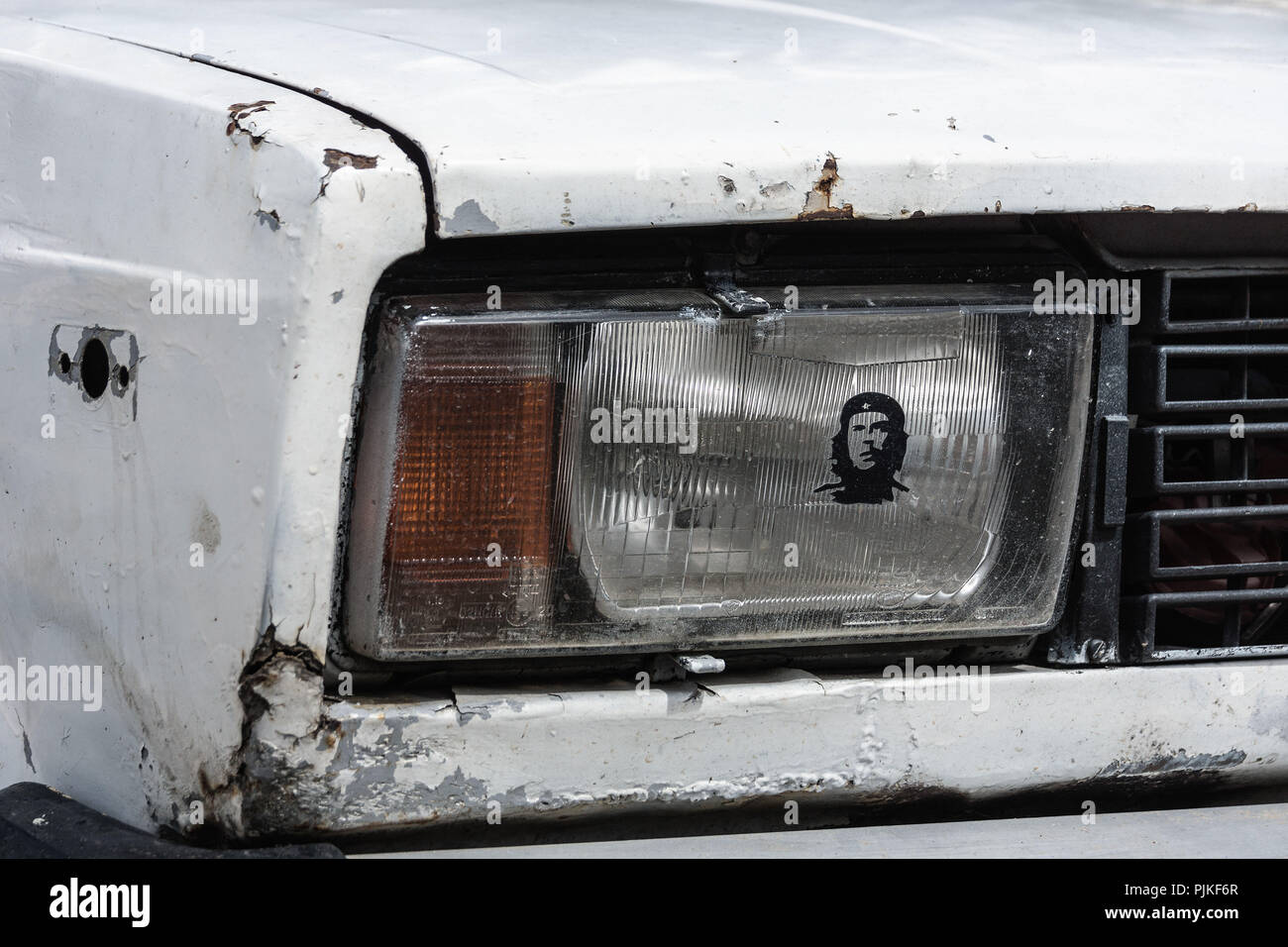 Cuba, Lada, light, personality cult, Che Guevara - Stock Image