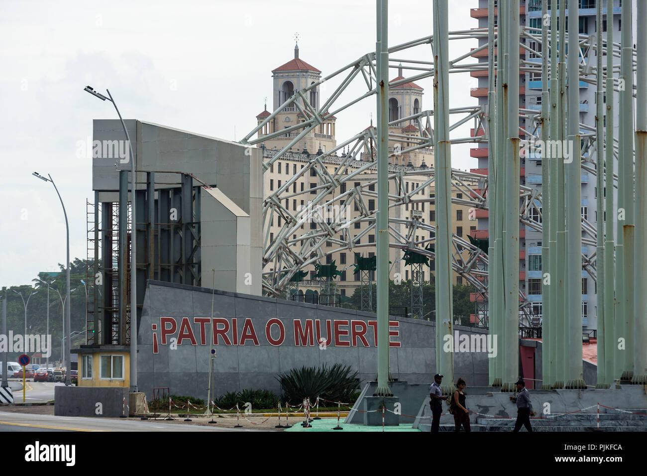 Cuba, Havana, La Rampa, José Martí Anti-Imperialist Platform, lettering 'Patrio o Muerte' (Fatherland or Death) - Stock Image
