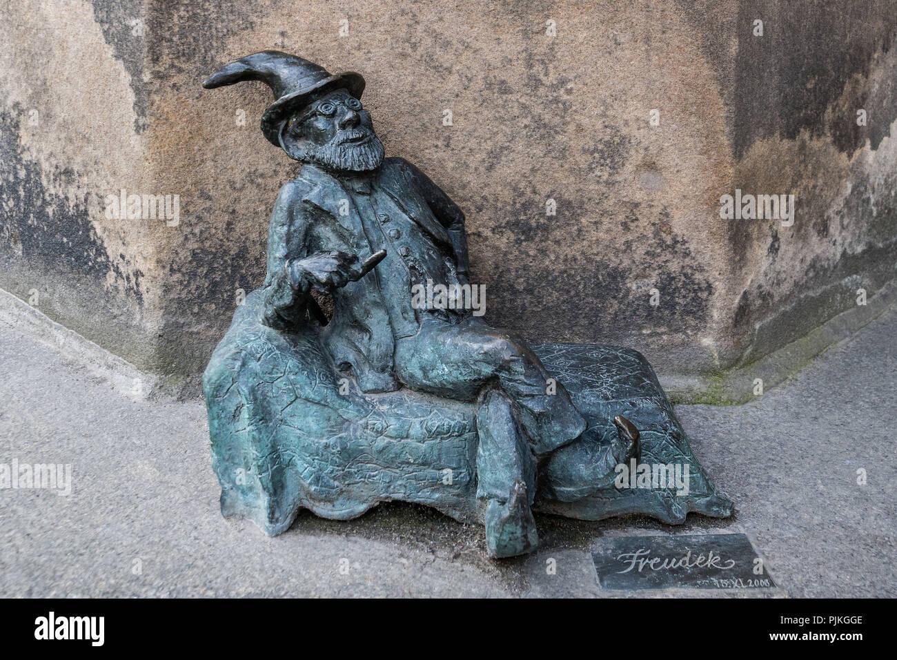 Poland, Wroclaw, Wroclaw's dwarfs, former symbol of resistance, Sigmund Freud - Stock Image