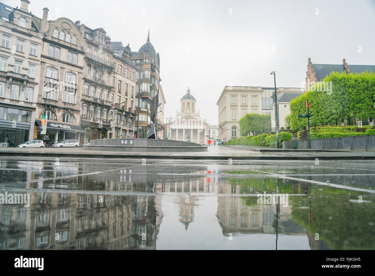 Brussels, APR 29: The famous Whirling Ear art statue in a rainny day on APR 29, 2018 at Brussels, Europe - Stock Image