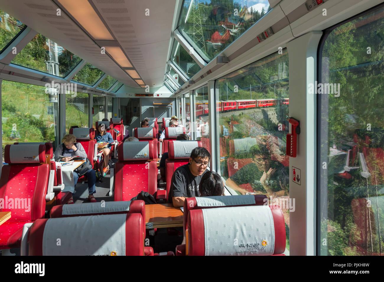 In the Glacier Express, Rhaetian Railway, Albula region, canton of Grisons, Switzerland - Stock Image