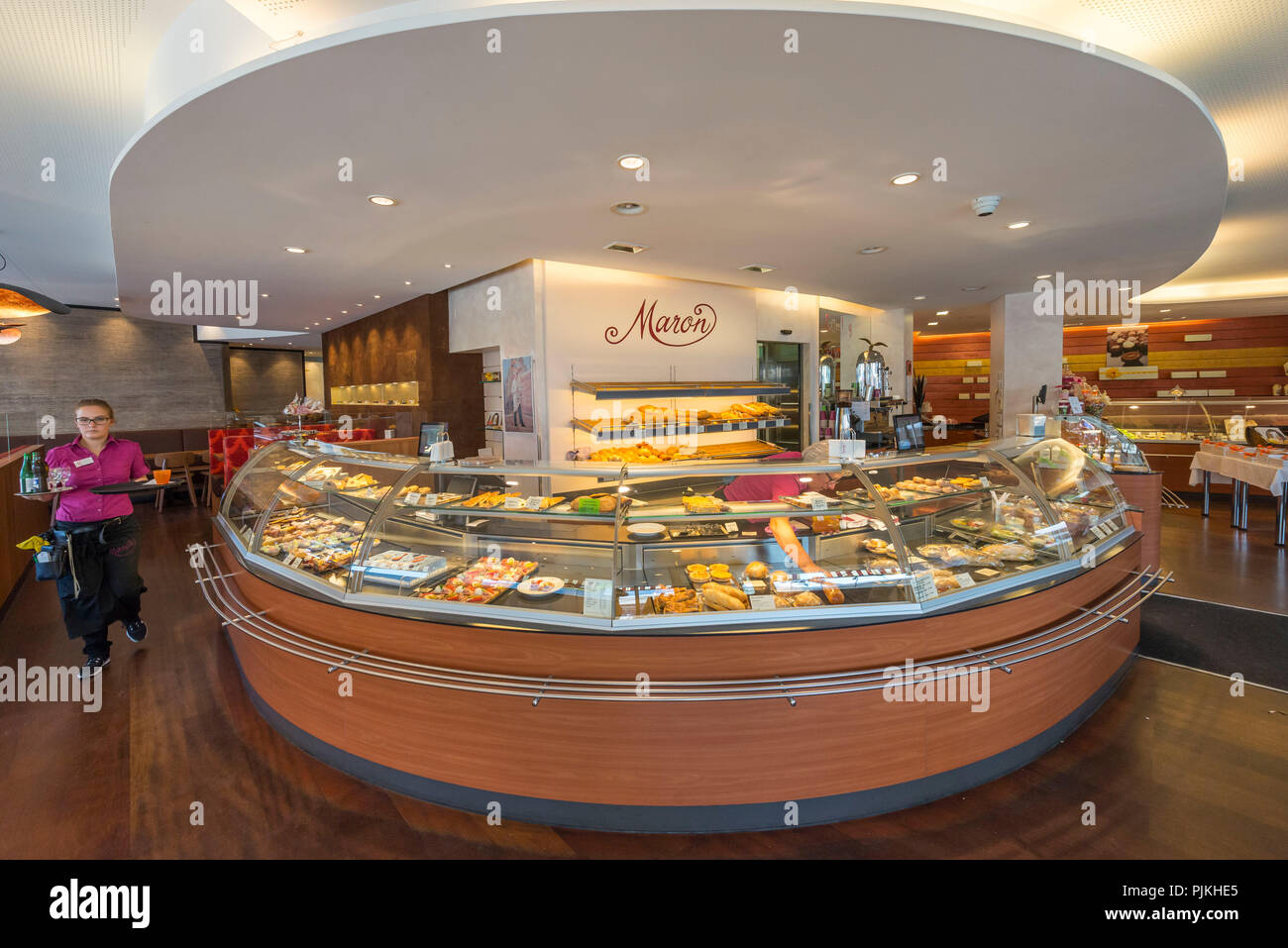 Counters in the café Maron, Chur, Canton of Grisons, Switzerland - Stock Image