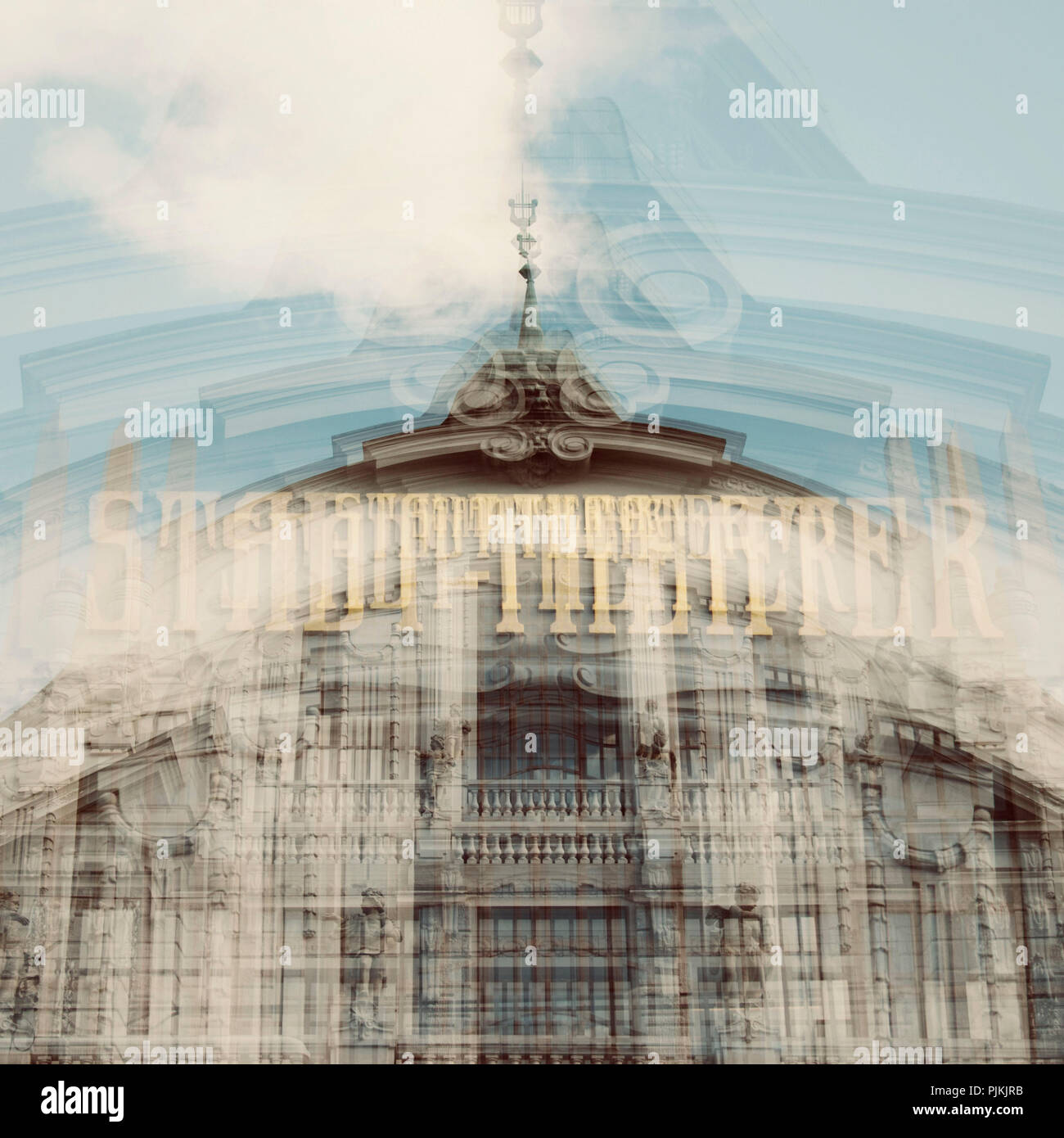The Scity theater in Bielefeld, artistical photographed with the help of multiple exposure, - Stock Image