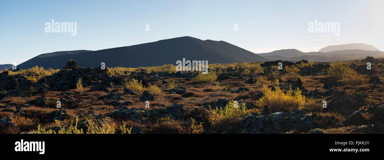 Iceland, Myvatn, Dimmuborgir lava field, Hverfell / Hverfjall mountain, pseudo crater, autumn leaves, shadow on crater - Stock Image
