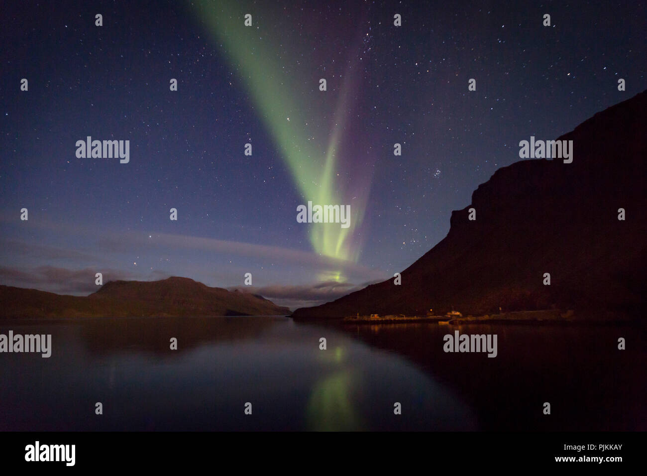 Iceland, polar lights, Iceland, mood, bright night, sea, stars, Westfjords, Pleiades, - Stock Image
