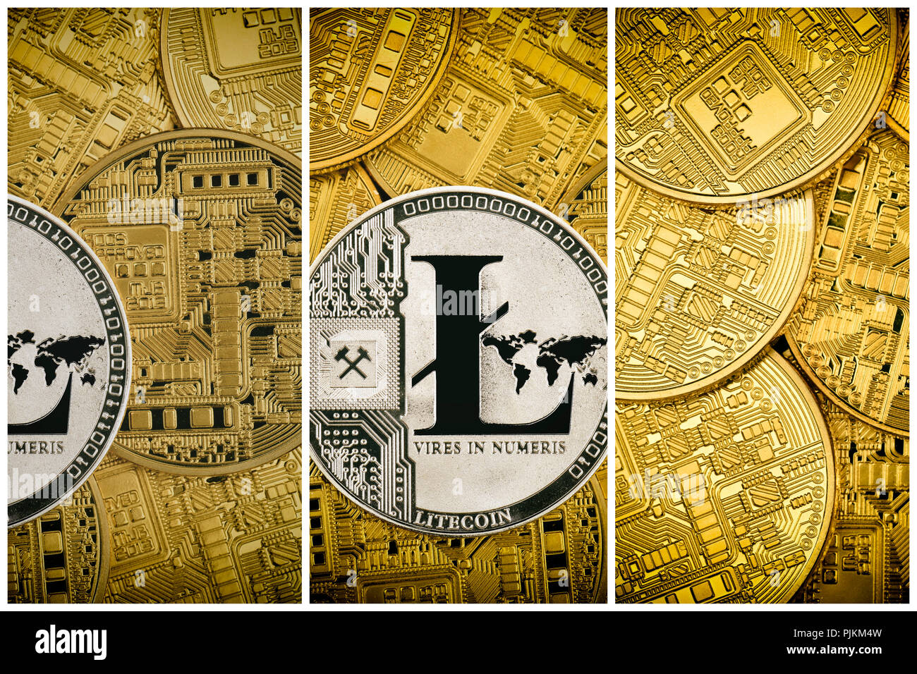 Symbolic image of digital currency, silver coin litecoin among golden physical coins Stock Photo