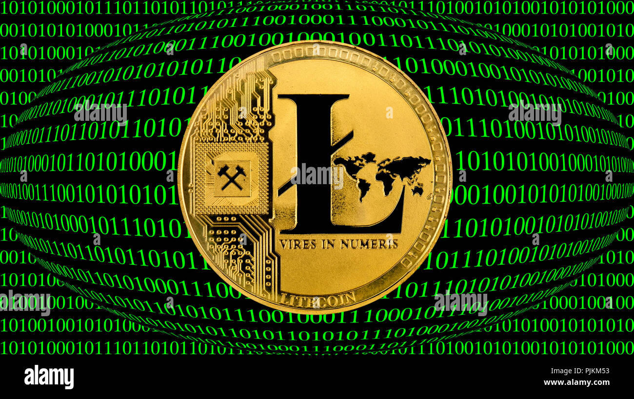 Symbolic image of digital currency, golden coin Litecoin - Stock Image