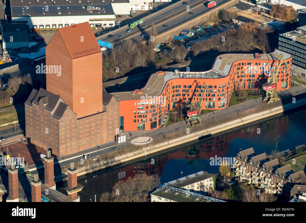 State archive NRW Department Rhineland at Innenhafen Duisburg, Architects Ortner & Ortner Baukunst, BLB Affair, Duisburg, Ruhr Area, North Rhine-Westphalia, Germany - Stock Image