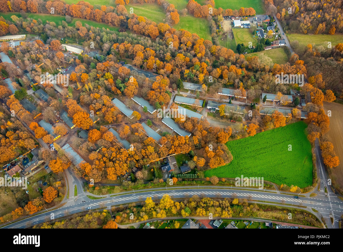 Refugee shelter of the Caritas society Dinslaken, unemployed project, An der Fliehburg, Dinslaken, Ruhr area, North Rhine-Westphalia, Germany - Stock Image