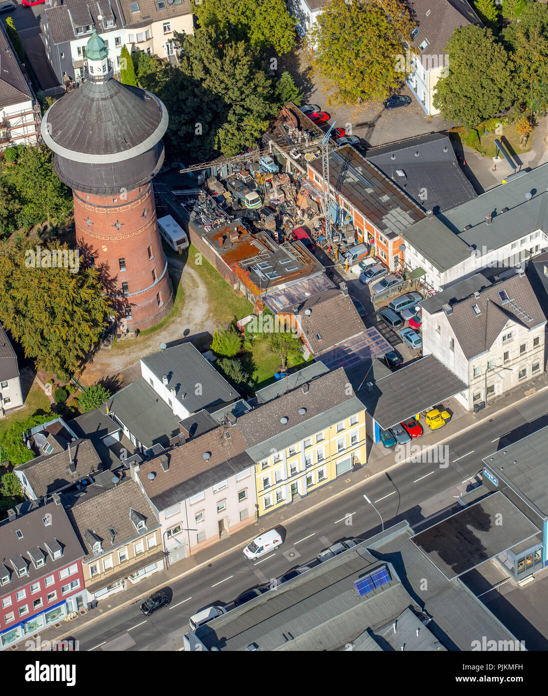 Historic Water Tower On The Langenberger Strasse Car Repair Shop