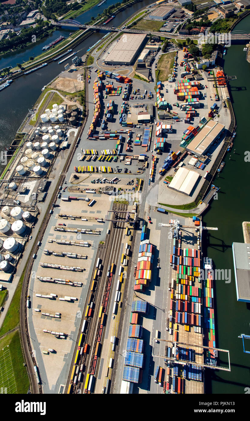Aerial view, Duisport, largest inland port of Europe, Duisburg port company, Rhine, Duisburg, Ruhr area, North Rhine-Westphalia, Germany - Stock Image
