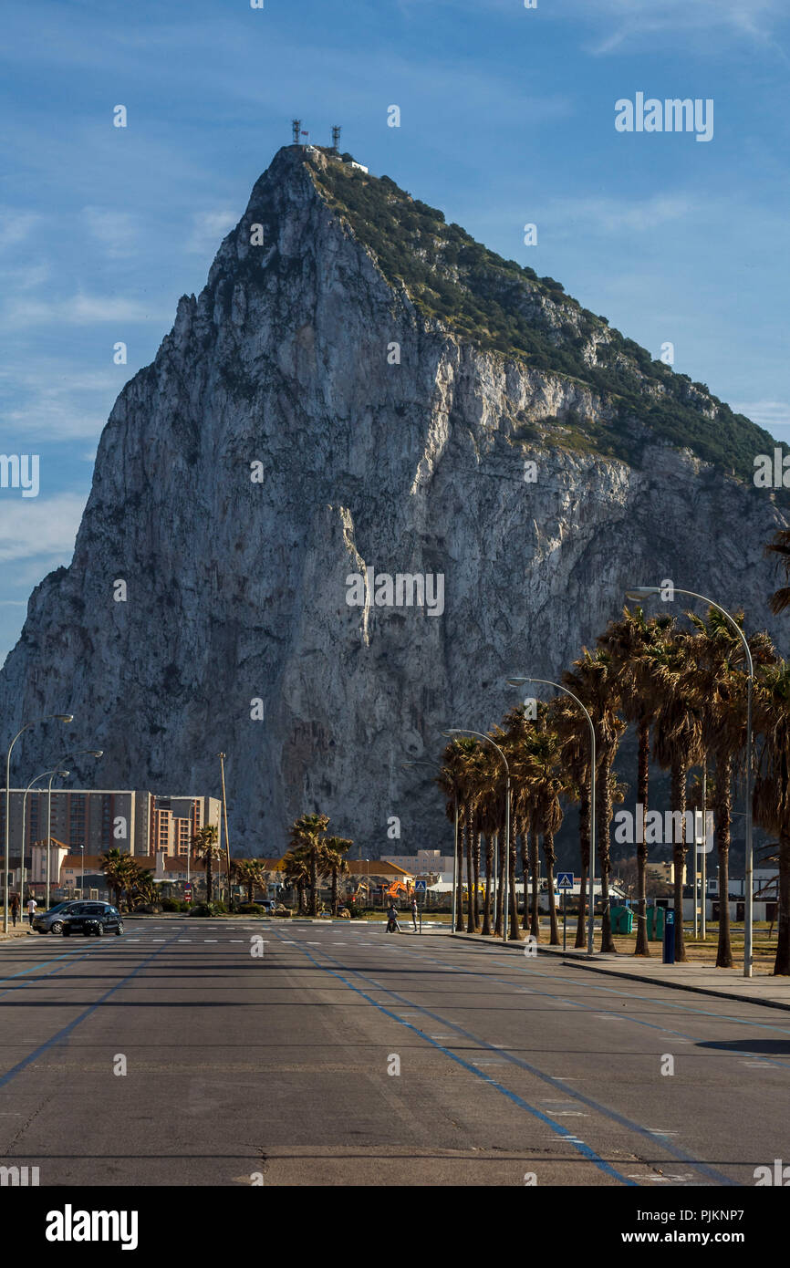 The Rock of Gibraltar, jewel and British enclave at the Mediterranean Sea - Stock Image